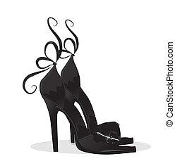 fekete, cipők
