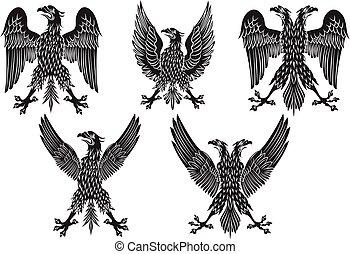 fekete, eagles., vektor, ábra, állhatatos, címertani