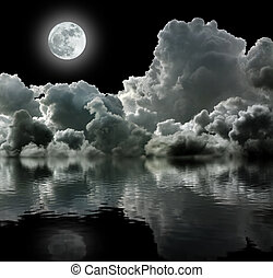 fekete, elhomályosul, viharos, hold
