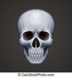 fekete, emberi, díszítés, elszigetelt, koponya