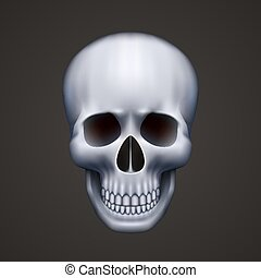 fekete, emberi koponya, elszigetelt
