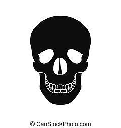 fekete, emberi koponya, ikon