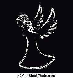 fekete, fehér, árnykép, háttér, angyal