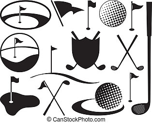 fekete, fehér, golf, ikonok