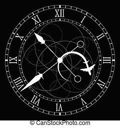 fekete, fehér, vektor, öreg, óra