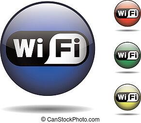 fekete, fehér, wi-fi, kerek, jel