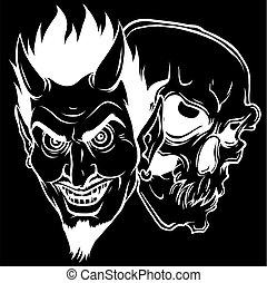 fekete, fej, árnykép, koponya, ábra, vektor, háttér, ördög, tervezés