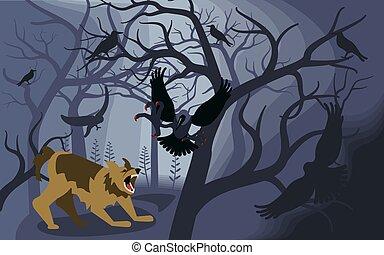 fekete, fosztogat, verekszik, képzelt, farkasember