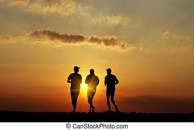 fekete, futás, férfiak, árnykép