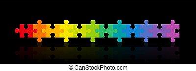 fekete, gradiens, szivárvány, háttér, színezett, fejtörő munkadarab, egyenes