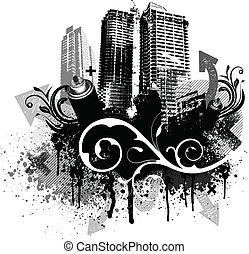 fekete, grunge, város