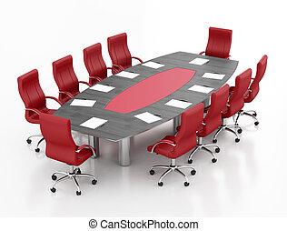 fekete, gyűlés, piros asztal