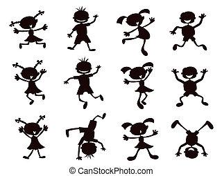 fekete, gyerekek, árnykép, karikatúra