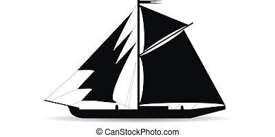 fekete, hajó, árnykép, white háttér