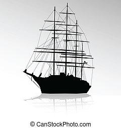 fekete, hajó, kívül, árnykép, vitorlázik