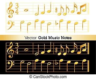 fekete, hangjegy, fehér, háttér, arany, zene