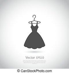 fekete, icon., ruha, hanger.