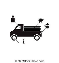 fekete, ikon, fehér, autó, infographics, lakás