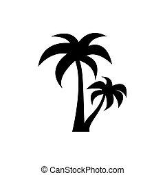 fekete, ikon, fehér, pálma, vektor, háttér