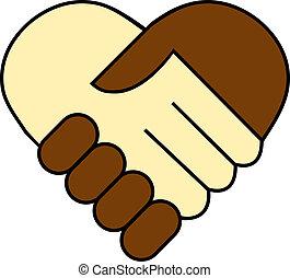 fekete, között, ráz, kéz, fehér