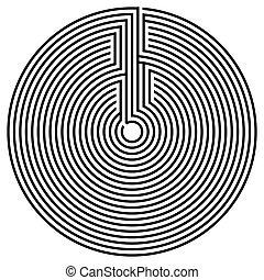 fekete, kerek, labirintus
