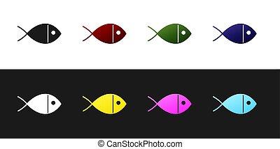 fekete, keresztény, háttér., vektor, fehér, jelkép, jelkép., ábra, jézus, ikon, állhatatos, fish, elszigetelt