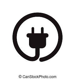 fekete, lakás, ikon, konnektor, fehér, erő