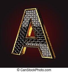 fekete, levél, arany
