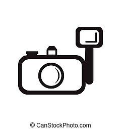 fekete, mód, ikon, fehér, fényképezőgép, lakás