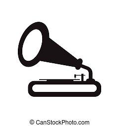 fekete, mód, ikon, fehér, gramofon, lakás