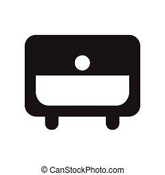 fekete, mód, ikon, fehér, nightstand, lakás