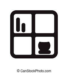 fekete, mód, ikon, fehér, polc, lakás