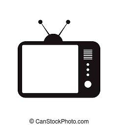 fekete, mód, ikon, fehér, tv, lakás