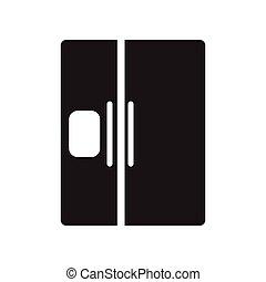 fekete, mód, ikon, hűtőgép, fehér, lakás