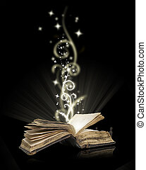 fekete, nyitott könyv, varázslatos