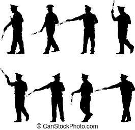 fekete, rendőrség, állhatatos, fehér, körvonal, rúd, backg, tiszt