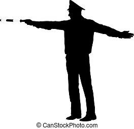 fekete, rendőrség, backgroun, fehér, körvonal, rúd, tiszt