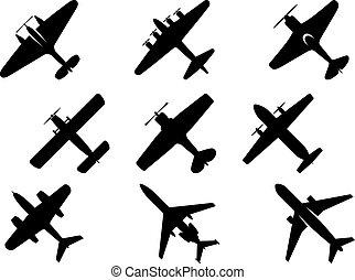 fekete, repülőgép, árnykép, ikonok
