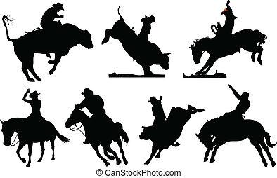 fekete, rodeó, hét, silhouettes.