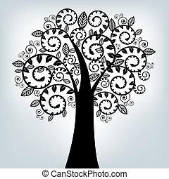fekete, stilizált, fa