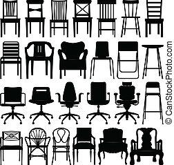 fekete, szék, állhatatos, árnykép