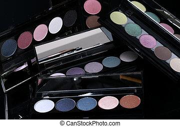 fekete, szemhéjfesték, gyűjtés, háttér, színes