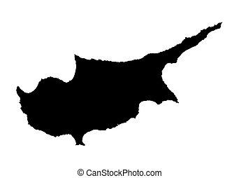 fekete, térkép, ciprus