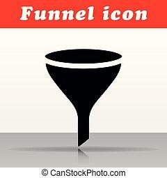fekete, tölcsér, vektor, tervezés, ikon