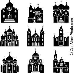 fekete, templom, árnykép, ikonok