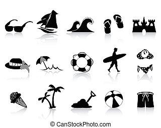 fekete, tengerpart, ikon, állhatatos