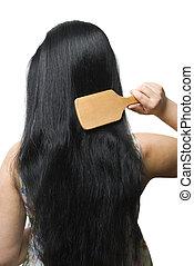 fekete, tisztítás, neki, nő, hosszú szőr