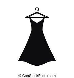 fekete, vállfa, ruha