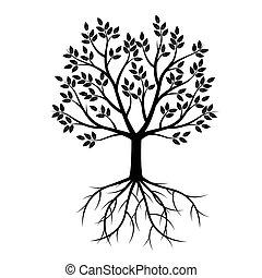 fekete, vektor, fa, illustration., roots.