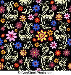 fekete, virágos, seamless, háttér